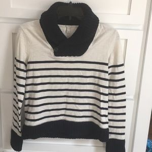 J. Crew Stripe Shirt with Knit Collar and Cuffs